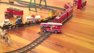 Lego City Fire Truck in Lego Train Crash - Toy Horse and Motorway Towaway Saves the Day!