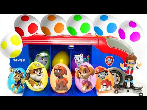 Best Learn Colors Video with Paw Patrol Surprise Eggs Skye & Chase Patroller Vehicle   Sparkle Spice