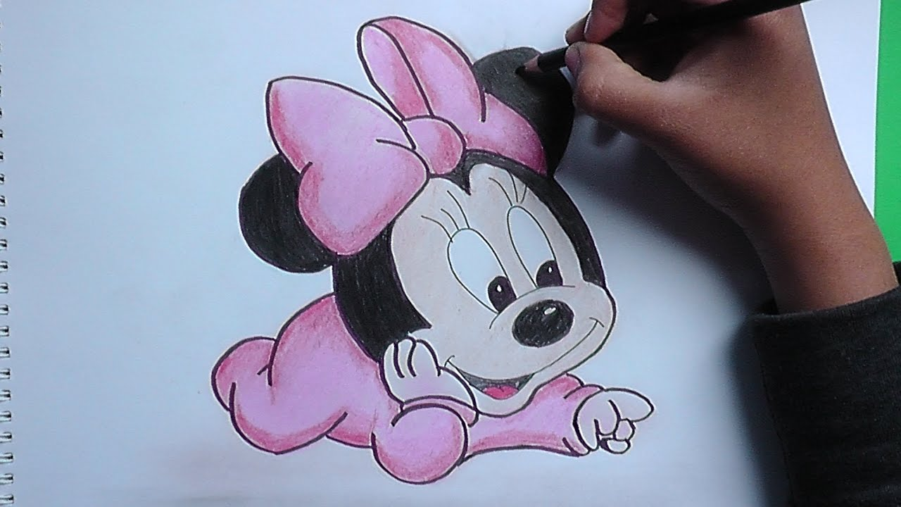 Dibujando y pintando Bebe Minnie (Mickey Mouse) - Minnie Baby ...