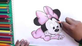 Dibujando y pintando Bebe Minnie (Mickey Mouse) - Minnie Baby drawing and painting