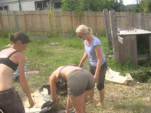 Mud Girls Building A Cob Wall On Salt Spring Island