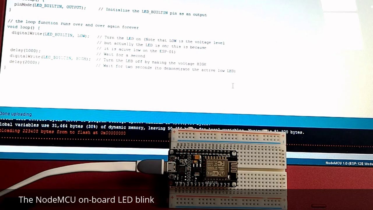 Blink NodeMCU on-board LED using Arduino IDE with esp8266 library