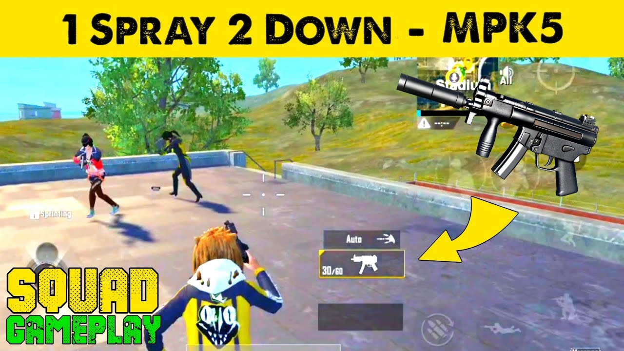 1 Spray 2 Down With MPK5 in PUBG Mobile Lite | PUBG Mobile lite Squad Full Rush Gameplay