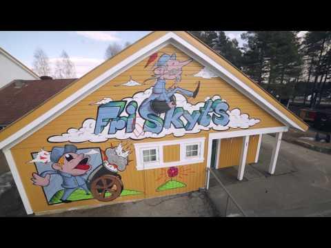 Edvard Munch-inspirert street art/graffiti av Benjamin Carling på Ådalsbruk skole i Løten.