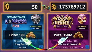 From LONDON to VENICE - 50 coins to 173M Coins - 8 Ball Pool
