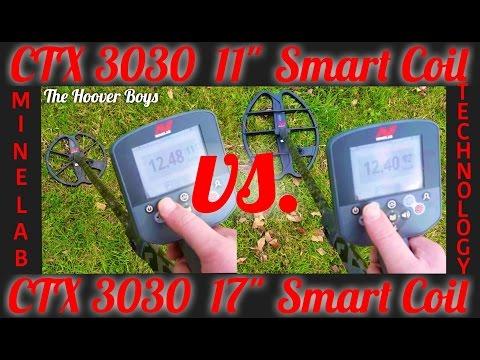 "Minelab CTX 3030 11"" Smart Coil vs. 17"" Smart Coil Assembly Deep Depth Test Comparison Hunt & Review"