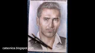 Alejandro Fernández portrait in watercolor pencils and graphite
