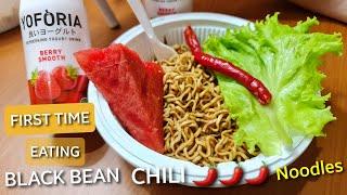 First Time Eating Black Bean Noodles - Cook &amp Eat jjajangmyeon (짜장면)  black bean noodles halal