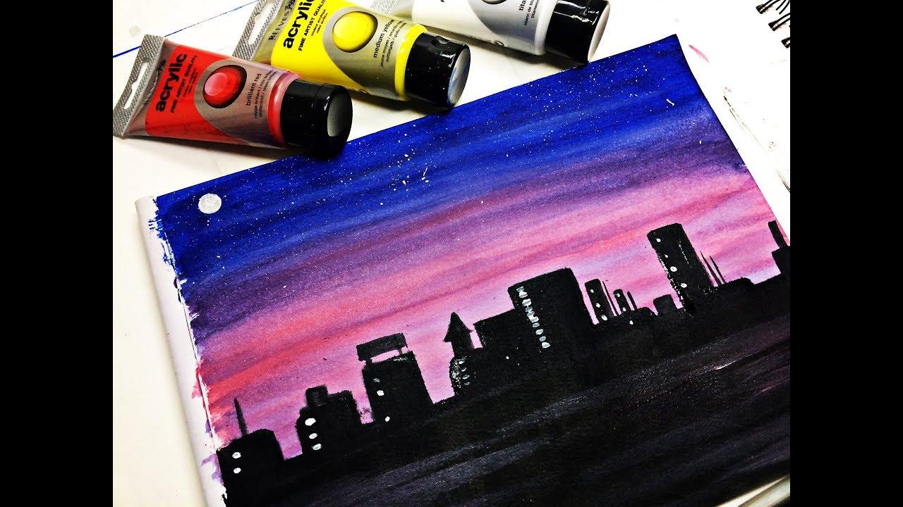 Como pintar un anochecer super facil / PINTURA ACRÍLICA ...