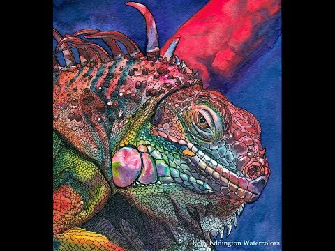 Watercolor and Ink Iguana