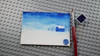 단색으로 그려보는 풍경 수채화 - 눈이 오는 풍경