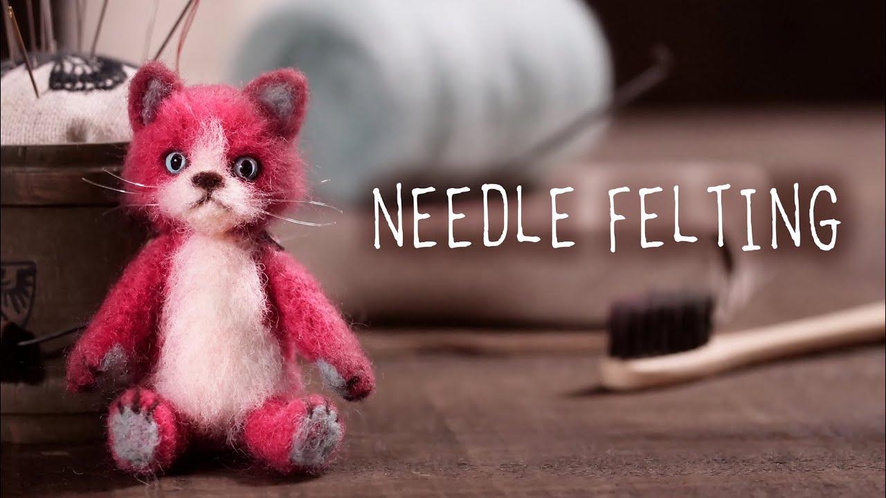 【羊毛】ニードルフェルト 赤い猫の男の子 DIY Needle Felting Red Cat [wool]