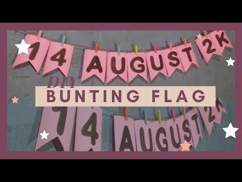 DIY BUNTING FLAG DARI KARTON    DIY ROOM DECOR #3