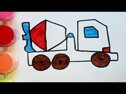 Легкие рисунки для детей. Рисуем бетономешалку. Обучающее ...