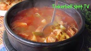 Корейский суп Юкедян с луком порей рецепт Spicy beef and green onions soup recipe 육개장