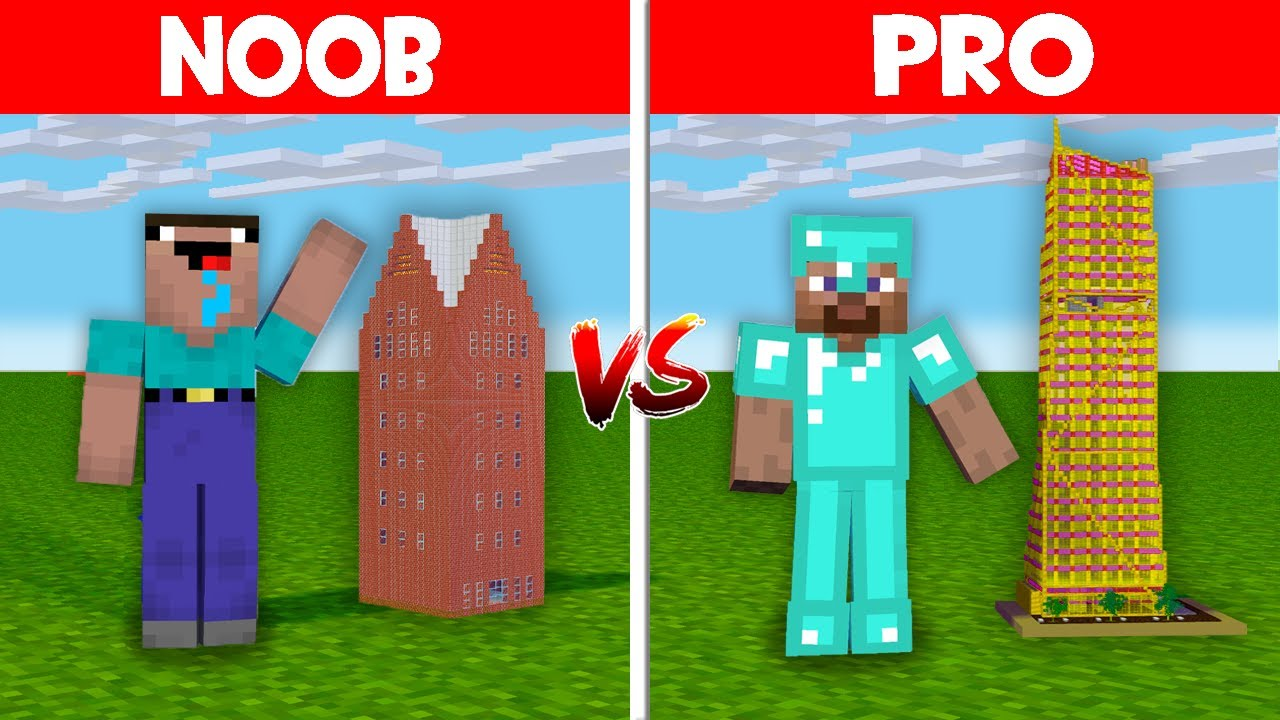 Minecraft NOOB vs PRO: NOOB BUILD ONE BLOCK SKYSCRAPER! GIANT SKYSCRAPER IN ONE BLOCK! (Animation)
