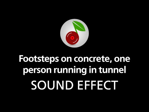 Footsteps on concrete, one person running in tunnel, sound effect