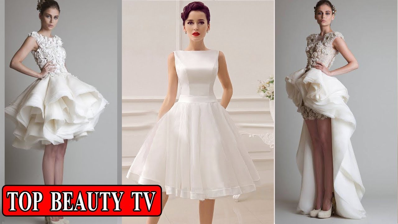 Short white wedding dresses , short bridal dresses for women - YouTube