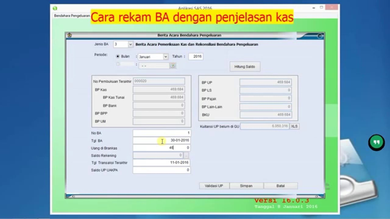Video Tutorial Aplikasi SAS 2016 user bendahara pengeluaran - YouTube
