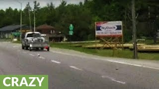 Human skull falls from back of truck on highway