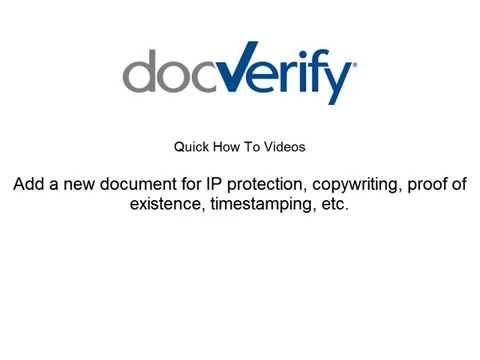 Add a new document for IP protection, copyrighting, proof of existence, time stamping, etc.