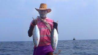 CAUGHT A BLUDGER TREVALLY FISH AT DEEP SEA !! JACK FISH