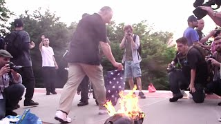 US & confederate flag burning sparks outrage, tension in New York