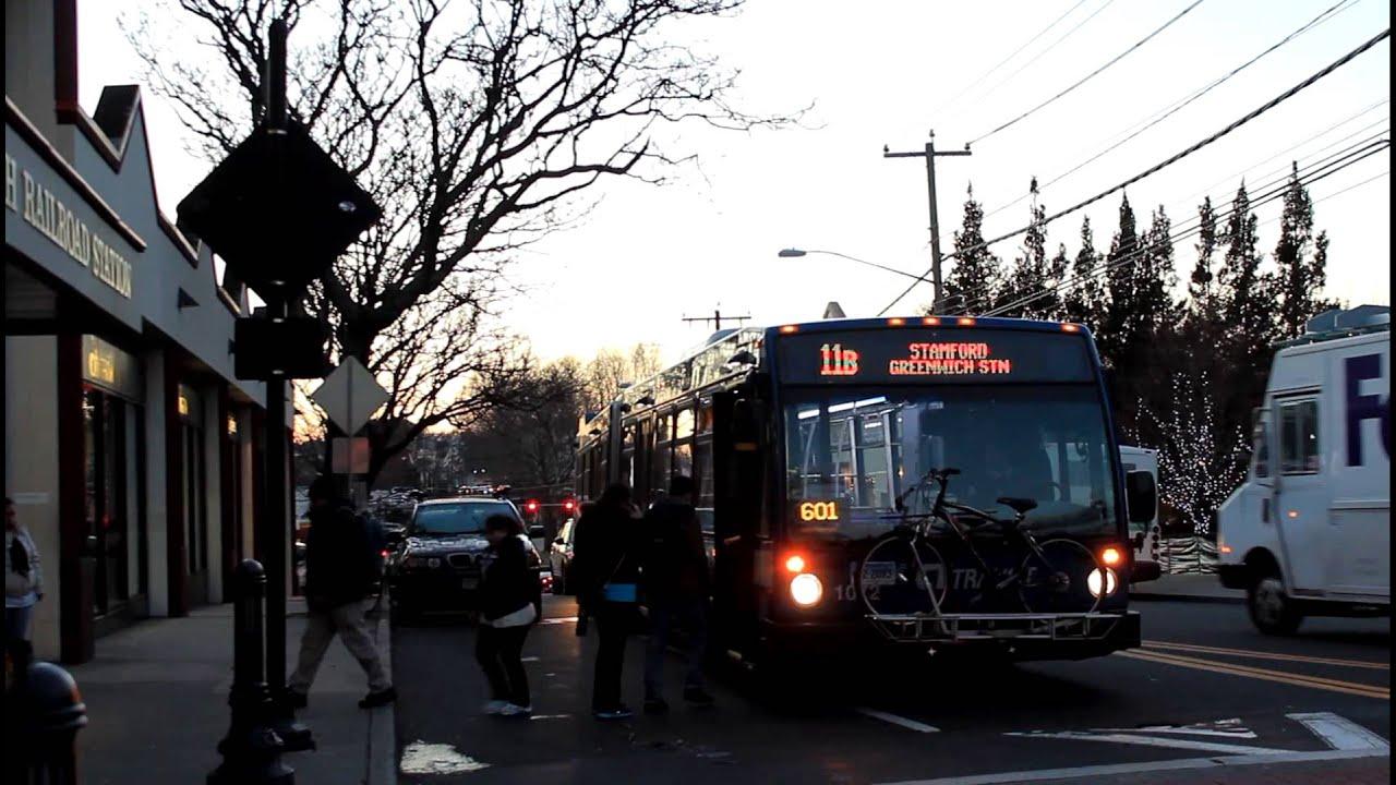 ct transit bus: stamford bound lfsa [#1072] route 11 (b) at railroad