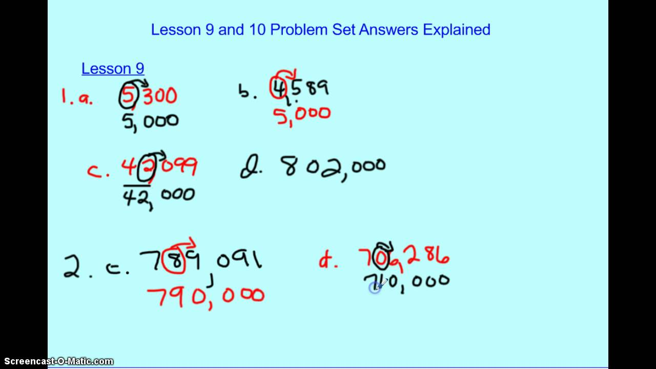 Lesson 9 and 10 Problem Set Answers - YouTube