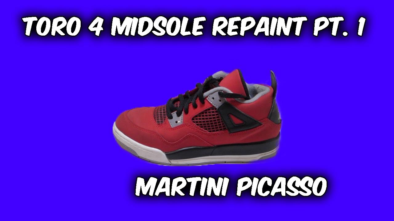 f226fa783854e2 JORDAN 4 TORO MIDSOLE REPAINT!!! - YouTube