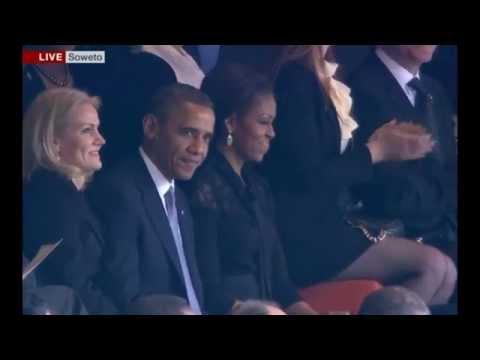 President Obama Cheered by Mandela Memorial Crowd