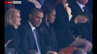 President Obama Cheered by Mandela Memorial Crowd