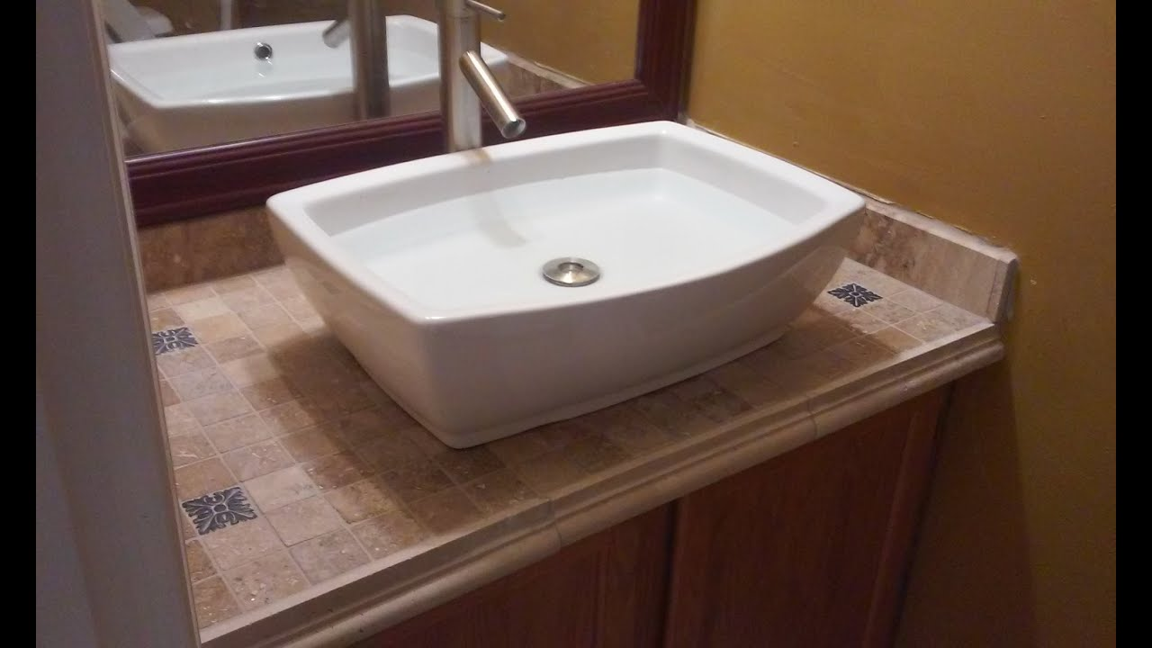 Great Vanity Top Tiled U0026 Top Mounted Sink   YouTube