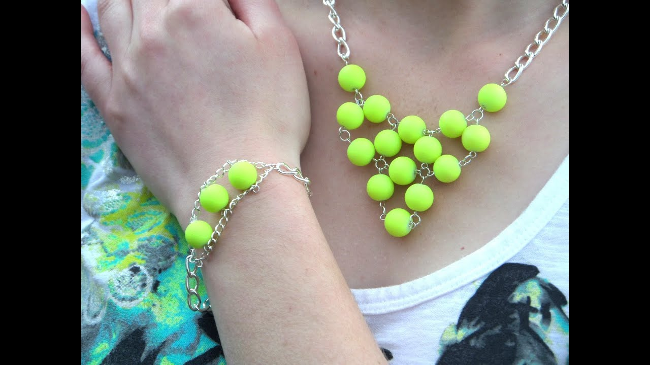 DIY Light Up the Night Neon Yellow Necklace and Bracelet Set ...