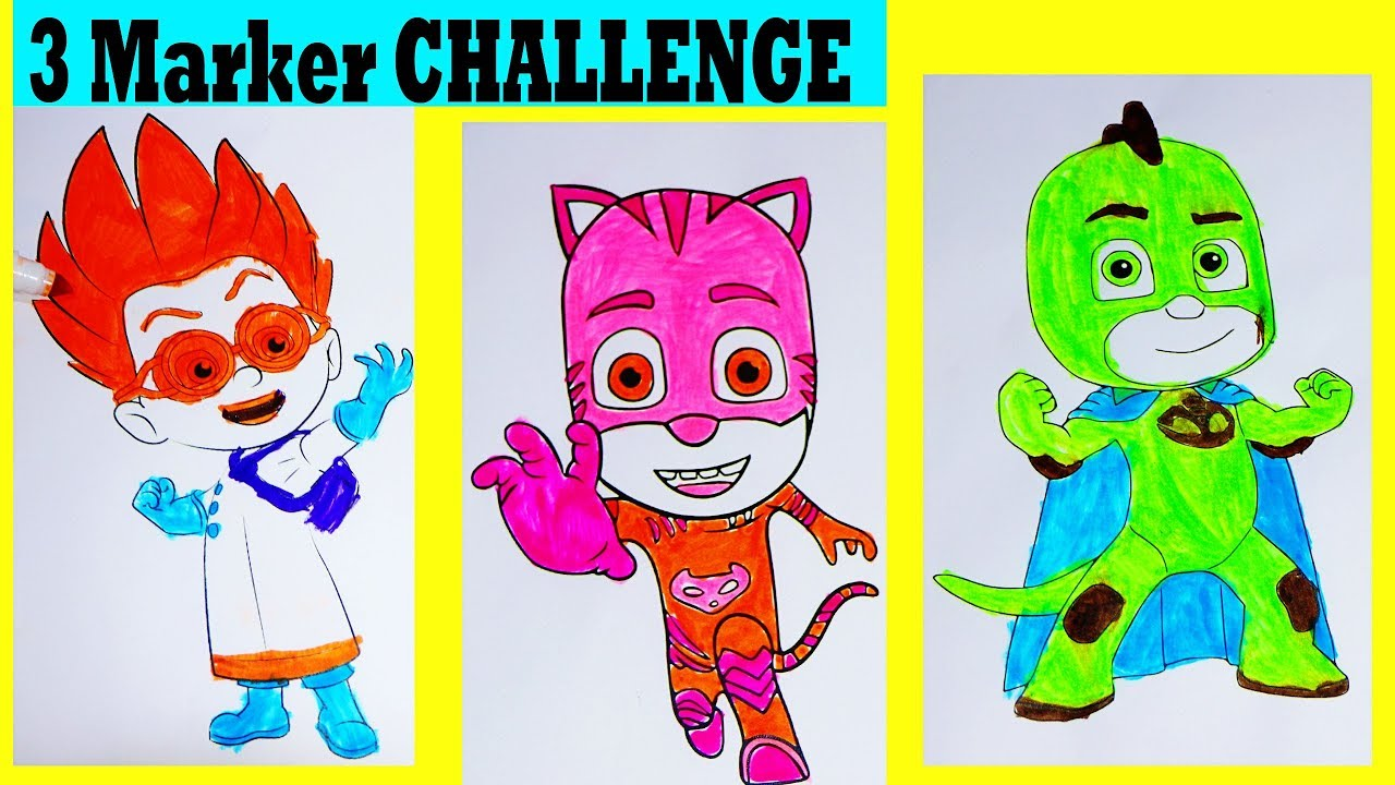 3 MARKER Challenge With PJ Masks Coloring Pages ...
