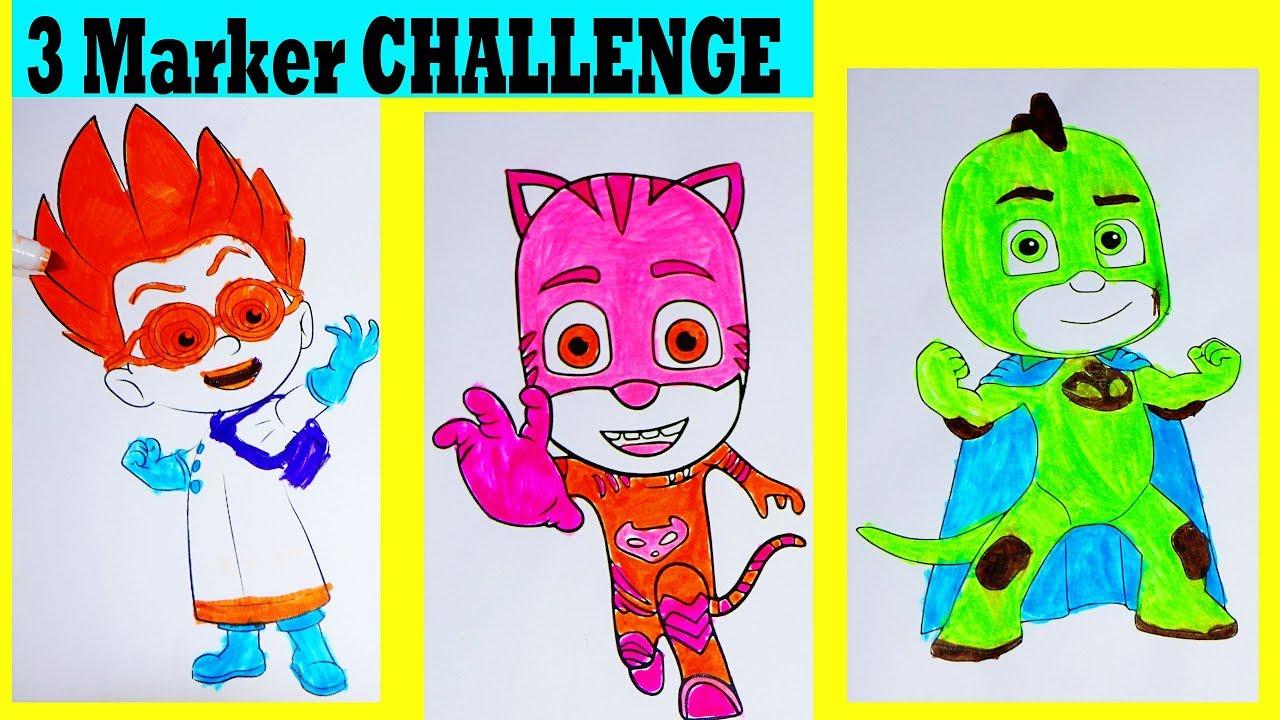 3 marker challenge with pj masks coloring pages surprises