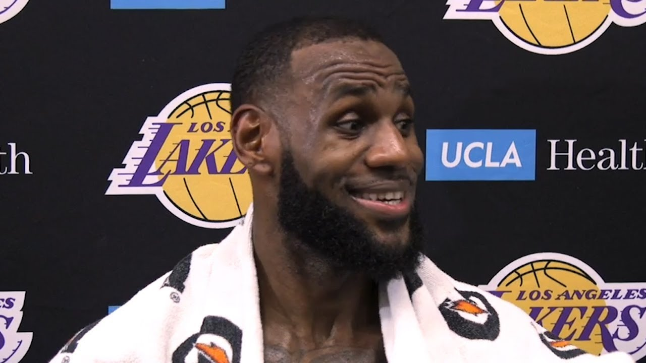 LeBron James shares his thoughts after his first practice as a Laker ... 51af8484b