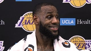 LeBron James shares his thoughts after his first practice as a Laker | Lakers Training Camp