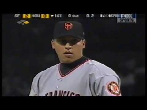 San Francisco Giants at Houston Astros 2001 10 04 PART 1 Bonds hits HR nr 70 to tie McGwire record
