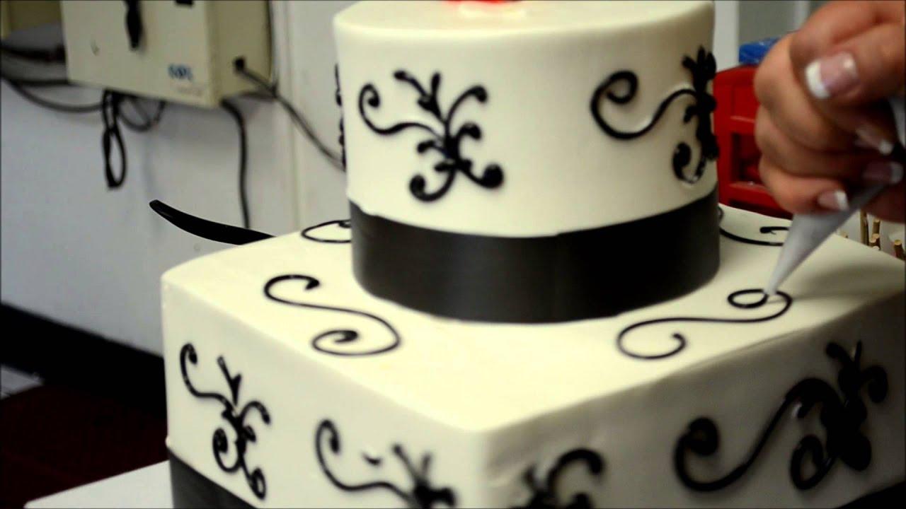 Square and round wedding cake design  YouTube