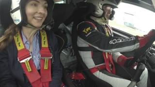 Office geeks for the first time in a rally car