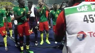 les lions indomptables remercie le publique pour leur molisation a ismailia  Par Vincent Kamto.avi