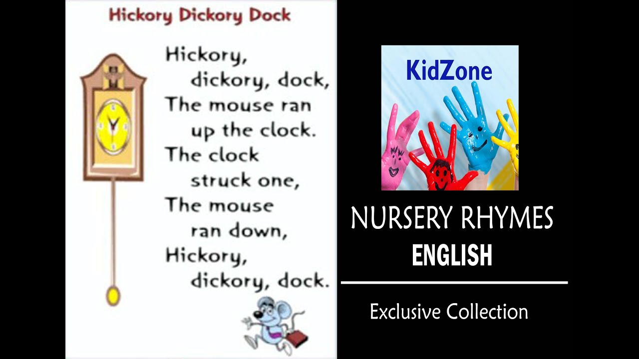 Hickory Dickory Dock English Kids Rhymes Along With Lyrics