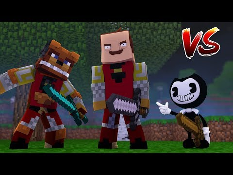 Minecraft Hunter - FREDDY FAZBEAR CHALLENGES BENDY AND THE HELLO NEIGHBOR TO A DEATH MATCH