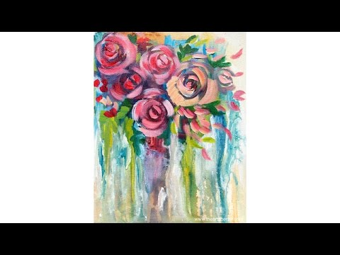 EASY Drip Roses STEP  By STEP Painting On Canvas For BEGINNERS