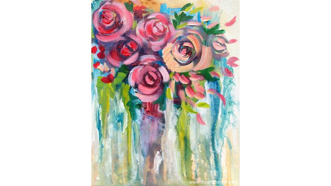 Easy drip roses step by step painting on canvas for for How to paint a rose in watercolor step by step