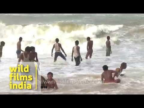 Waves of the Bay of Bengal hit Puri Beach, Orissa