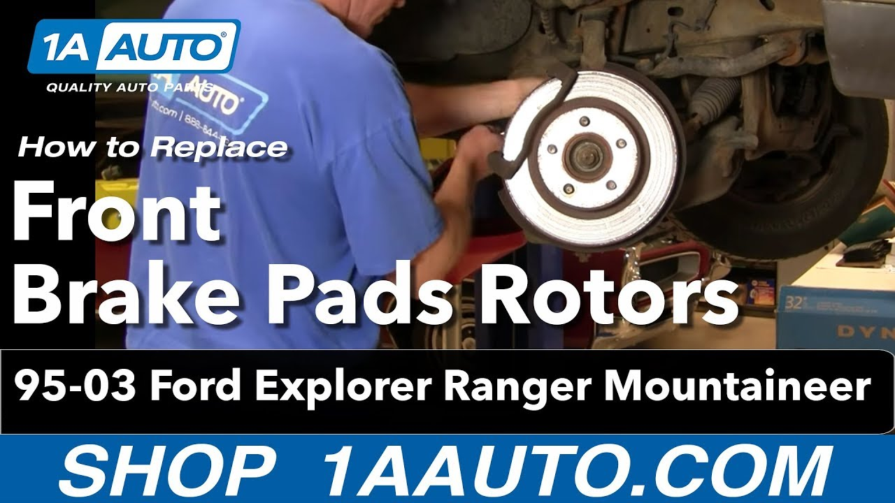 how to install replace front brake pads rotors ford explorer ranger mountaineer 4x4 95 03 1aauto com [ 1280 x 720 Pixel ]