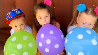Eva and Vova playing with balloons and learn colors | Eva Surprise