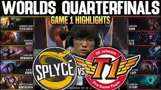SKT vs SPY Game 1 Highlights Worlds 2019 QUARTERFINALS - SKT T1 vs SPLYCE Game 1 Highlights Worlds